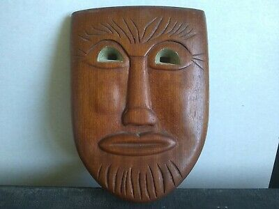 Beautiful original  Carved Wooden Male Head Mask 255x185mm x 40mm deep