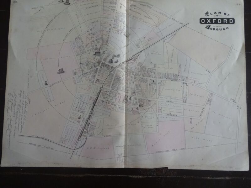 HISTORIC 1883 Map of the Plan of Oxford Borough, PA - Detailed Specific