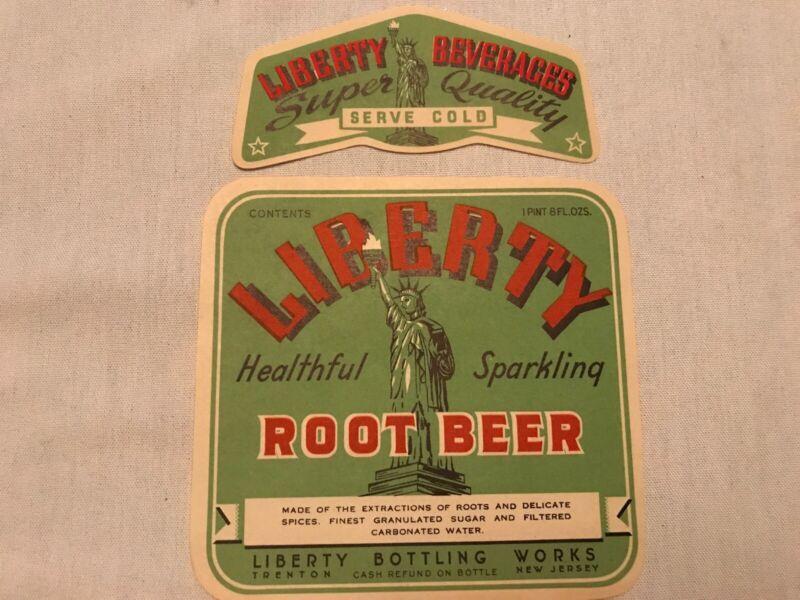 Liberty Root Beer Vintage Soda Bottle Labels, Liberty Bottling, Trenton, N.J.