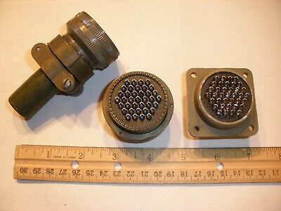 Used - Ms3106a 28-21s Sr With Bushing And Ms3102a 28-21p - 37 Pin Mating Pair