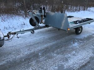 Double wide tilting snowmobile trailer