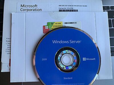 Microsoft Windows Server 2019 Standard 64 bit dvd + product key 16 core 2 user