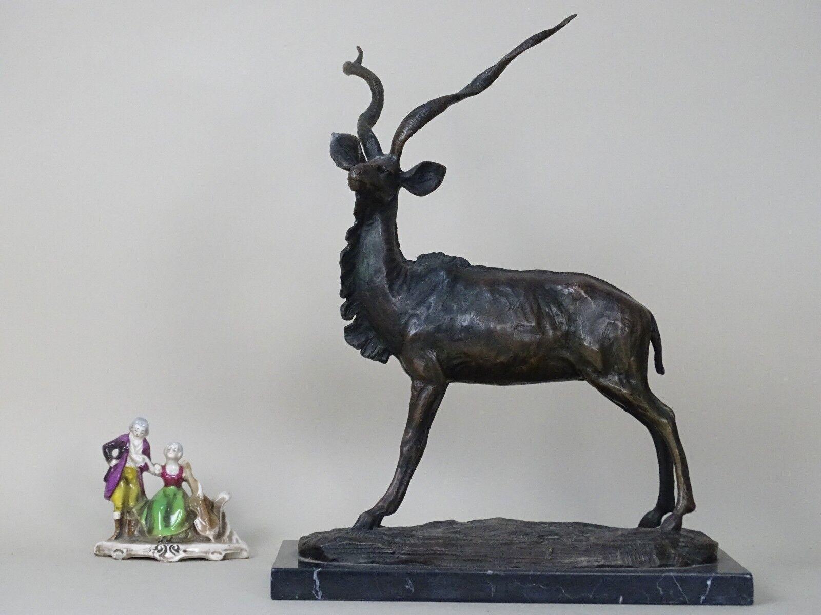 SCULTURA BRONZO marmo ANTILOPE CERVO MILO LIBERTY DECO 1800 XIX s MOREAU FRANCIA
