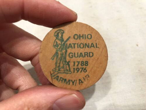 Vintage WOODEN NICKEL 1788 1976 Ohio National Guard JOIN THE GUARD Army Air