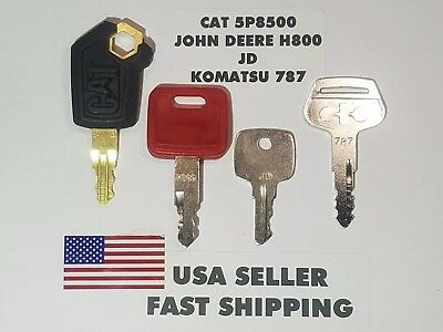 4 Heavy Equipment Ignition Key Cat 5p8500 John Deere H800 Jd Komatsu 787