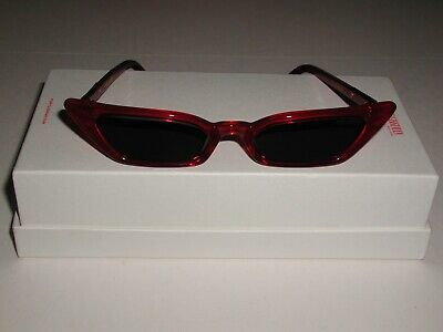 Poppy Lissiman Le Skinny Sunglasses RED with Grey Tinted Lens - Brand New