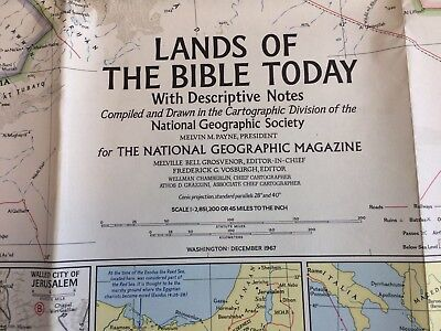 1967 VINTAGE LANDS OF THE BIBLE TODAY MAP National Geographic December 29 x 41