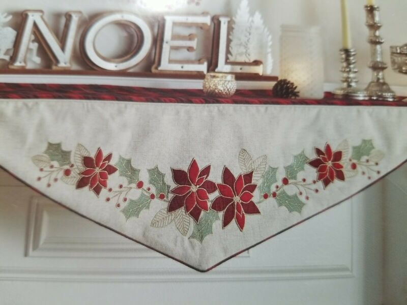 "The Prairie By Rachel Ashwell Poinsettia Embroidered Mantle Scarf  22"" x 84"" New"
