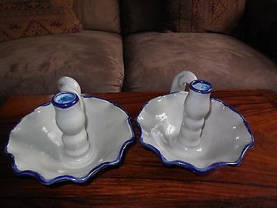 Williamsburg Pottery Factory pair of candle holders for sale  Shipping to Canada