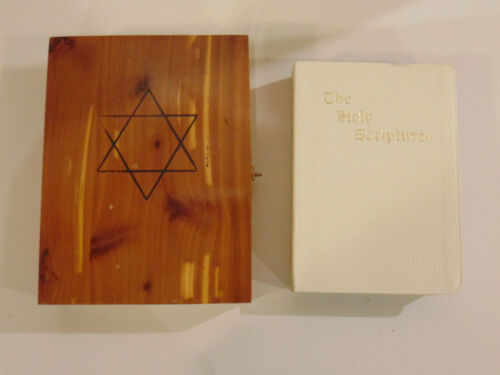 Vintage cedar Bible wood box Star of David Masoretic Bible Nashville Union Made