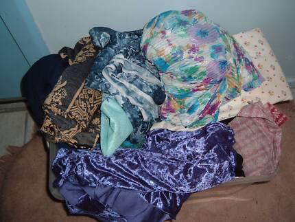 mixed crate of cloth materials