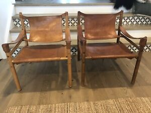 Vintage Pair of Arne Norell Leather Safari Chairs Mid Century
