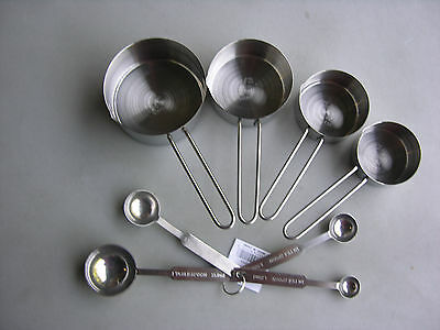 USA SELLER 8 PIECE MEASURING CUPS & SPOONS SET STAINLESS STEEL FREE SHIP USA
