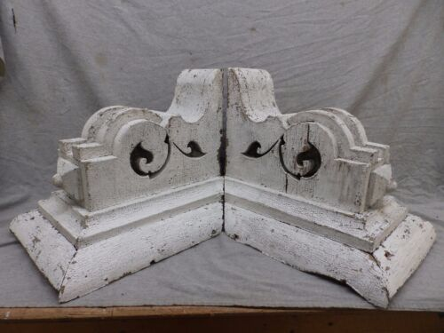 Large Antique Pair Wood Corbels Shabby Cottage Chic Vintage 476-17R