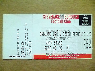 Ticket-Friendly International- 2003 ENGLAND U20 v CZECH REPUBLIC U20, 9 Oct 2003
