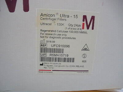 Amicon Ultra-15 Centrifugal Filter 100ka Millipore Ufc910024 Box Of 24