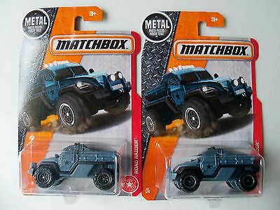 MATCHBOX DIECAST LOT OF 2 MILITARY POLICE MP ARMORED CAR NAVY GRAY MRAP HTF NIP