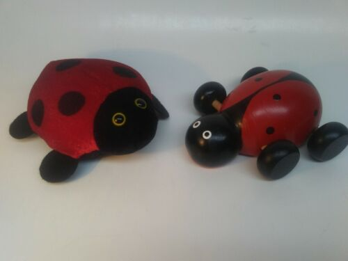 """Ladybugs Wooden Toy 5.5""""L and Plush Toy 6""""L Collectible Figurines Lot of 2"""