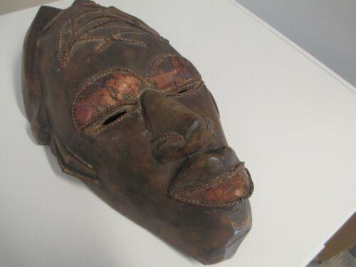 Hand Carved Wood Metal African Mask Tikar Cameroon