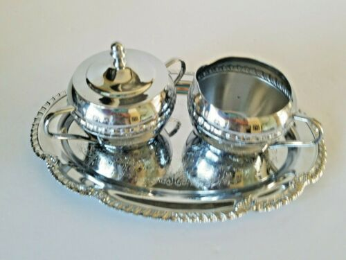 Irvinware Chrome Metal Tea Coffee Sugar Creamer Serving Tray Set - Made in USA