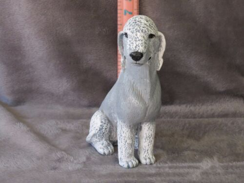 BEDLINGTON TERRIER PLASTER DOG STATUE HAND CAST AND PAINTED BY T.C. SCHOCH