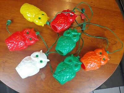 Vtg String of 7 Blow Mold Plastic Owls Patio RV Camping Party Lights Halloween
