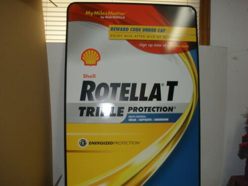 SHELL ROTELLA T  OIL SIGN LARGE DOUBLE SIDED METAL SIGN AND STAND.NOS.
