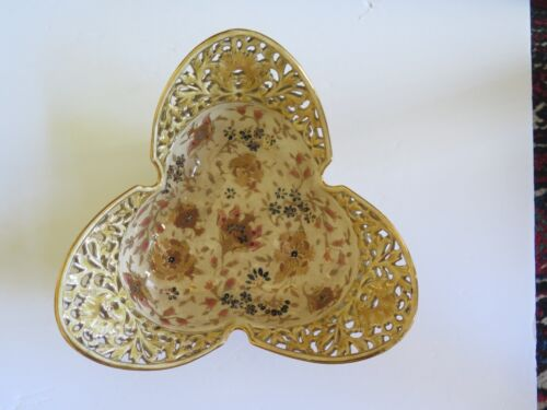 Fischer Antique Zsolnay Cream Bowl, Reticulated, Rare, Hungarian, 1850-1899,