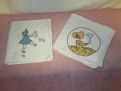 2 Vintage Muslin/Cotton Tea Towels -Embroidered & Appliquéd - Sunbonnet Sue