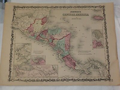 1863 CENTRAL AMERICA hand colored by Johnson and Ward 14