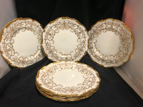 "SET OF 7 ENGLISH  PORCELAIN BY COALPORT ""ANNIVERSARY DINNER PLATES 10.5"""