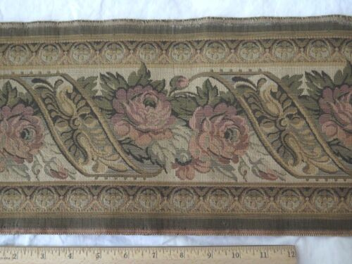 """Stunning Deep Rose French Blue & Floral Antique Cotton Tapestry Fabric~4yds 3""""L"""