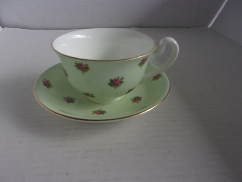 Vintage Adderley English Bone China Green Pink Roses Teacup & Saucer Set