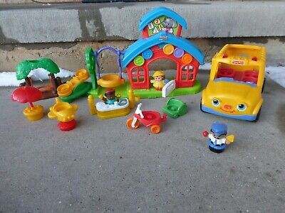 Fisher Price Little People School House Playset Bus Tree Swing Tricycle Desk Lot