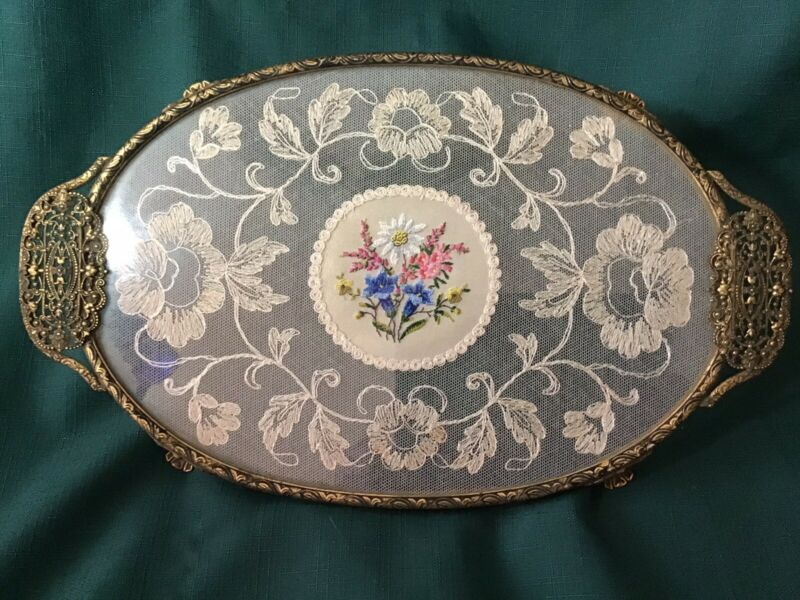 Antique Oval Vanity Tray, Glass Over Lace PETITE POINT w/ Filligree Brass Frame