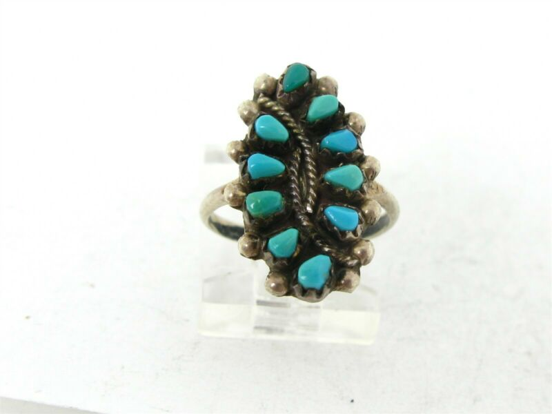 Vintage Sterling Silver Zuni Natural Turquoise Needlpoint Signed Ring 2.0g B34