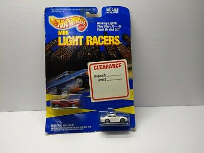 HOT WHEELS 1989 MINI LIGHT RACERS 2 PACK WITH  RED FERRARI &  WHITE PORSCHE READ