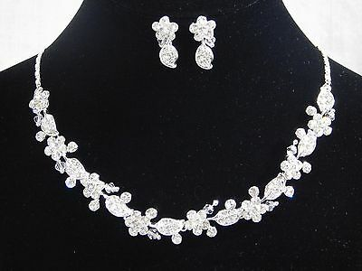 - Silver Clear Rhinestone,Clear Crystal Flower Wedding Necklace, Earrings Set