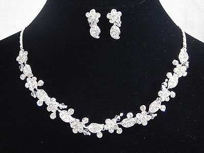 Silver Rhinestone & Clear Crystal Choker Flower Wedding Necklace, Earrings Set