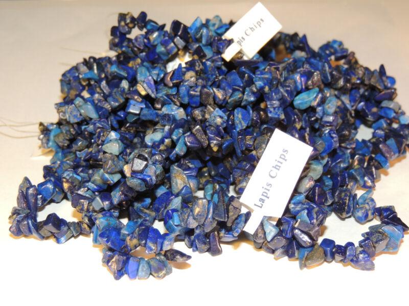 Lapis Polished Chip Strand Gemstone Beads (4995)