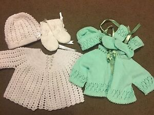2 Sets of Hand knitted Sweaters with Matching Bonnets and Bootie