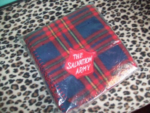 NOS Never Used The Salvation Army Tartan Plaid Flannel Picnic Throw Blanket