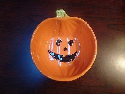 Dennis East Season of The Witch Ceramic Pumpkin/Jack O'lantern Candy Dish #4539