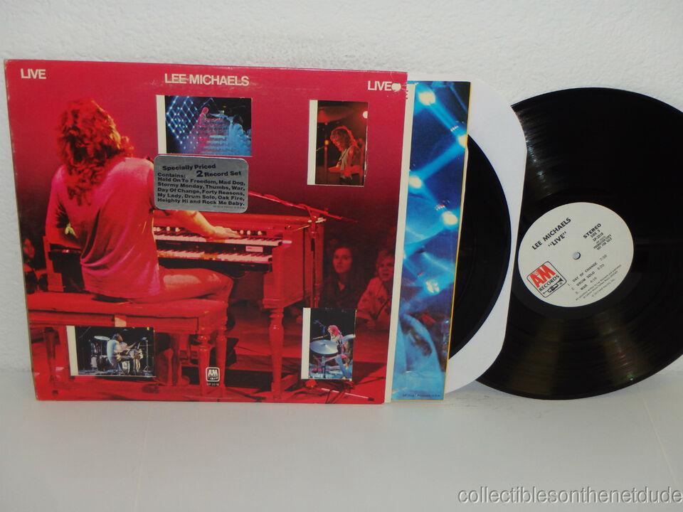 LEE MICHAELS Live WHITE LABEL PROMO 2-LP A&M SP-4336 (1973) VG+ die-cut jacket