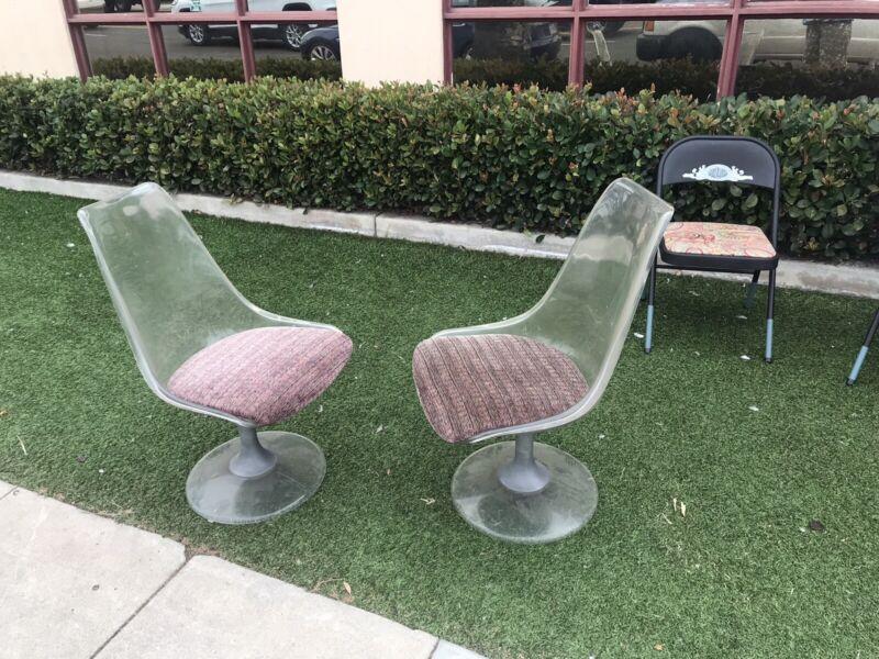 Pair of MCM Vintage Chromecraft Lucite Acrylic Tulip Swiveling Chairs