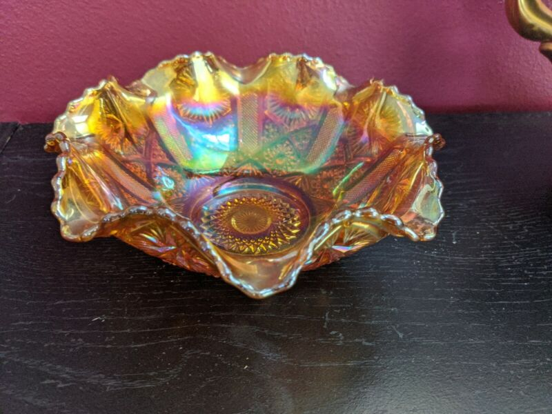 Vintage Marigold Carnival Glass Candy Nut Bowl