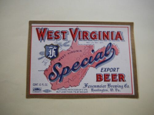 WEST VIRGINIA SPECIAL EXPORT AIE3.2% 12 OZ. BEER LABEL-HUNTINGTON,PA.