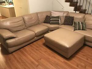 Leather Sofa with Ottoman + FREE CUSHIONS Macquarie Park Ryde Area Preview
