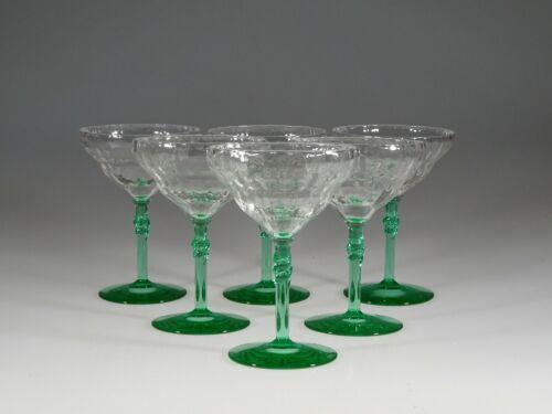 Set of 6 Deco Bi-color Green & Crystal Bamboo Optic #325 Cocktail Glasses c.1930