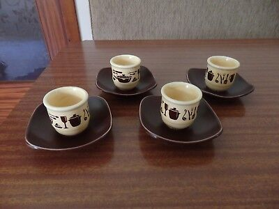 4 VINTAGE RETRO SYLVAC CORDON BRUN EGG CUPS WITH SAUCERS ATTACHED